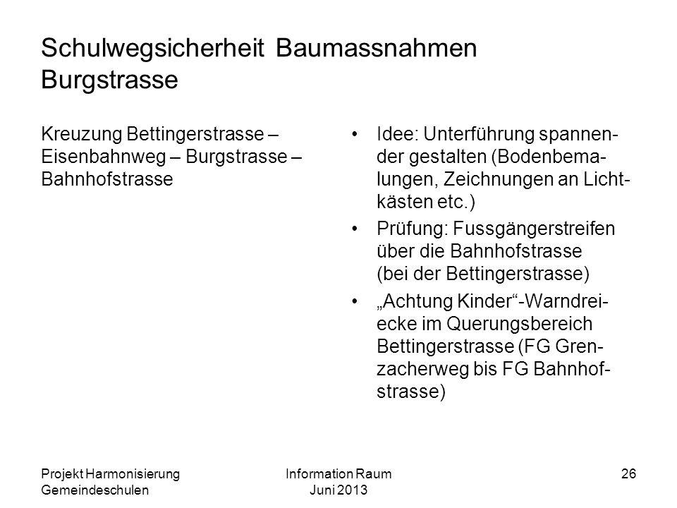 Schulwegsicherheit Baumassnahmen Burgstrasse Kreuzung Bettingerstrasse – Eisenbahnweg – Burgstrasse – Bahnhofstrasse Idee: Unterführung spannen- der g