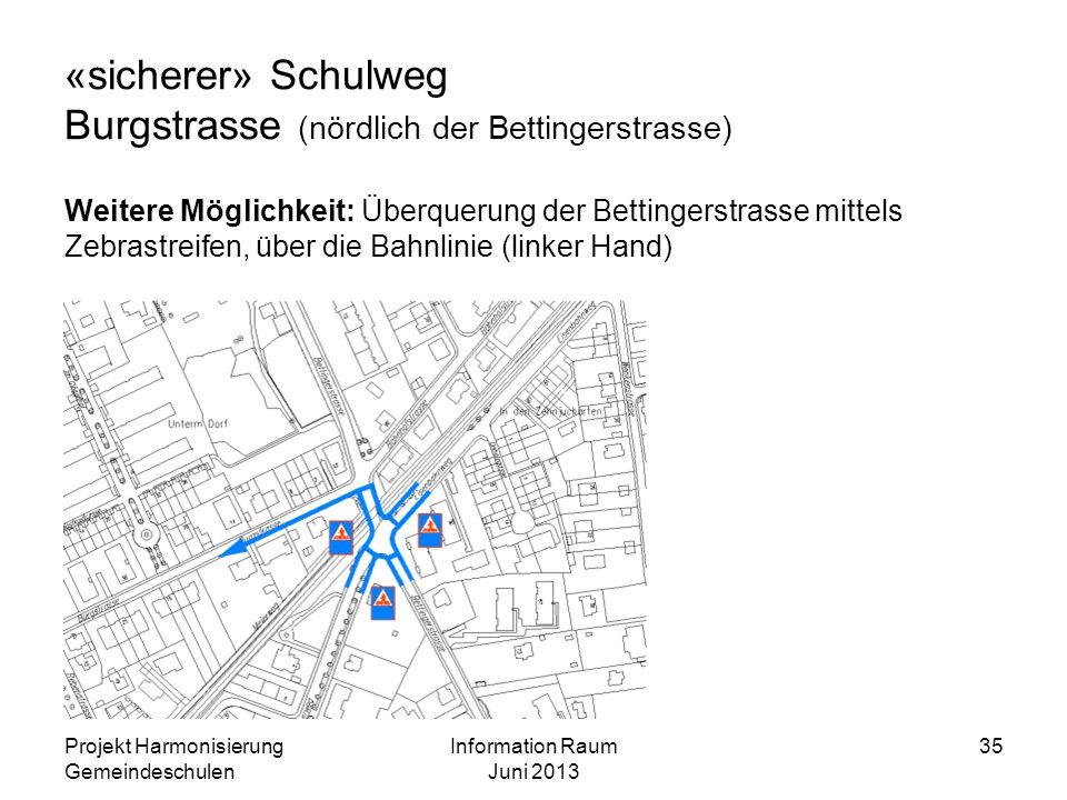 «sicherer» Schulweg Burgstrasse (nördlich der Bettingerstrasse) Weitere Möglichkeit: Überquerung der Bettingerstrasse mittels Zebrastreifen, über die