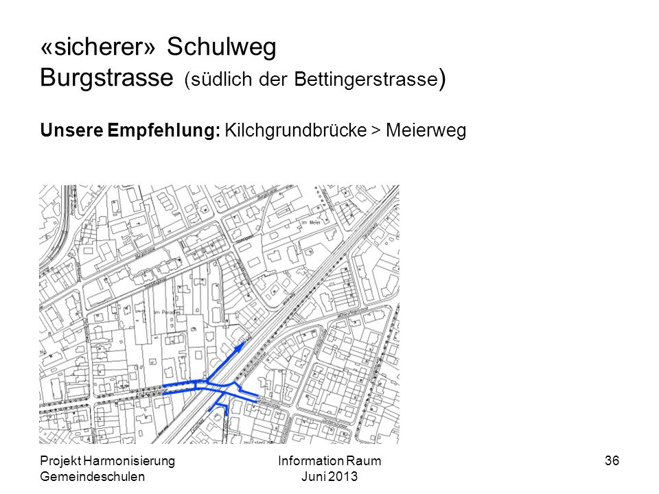 «sicherer» Schulweg Burgstrasse (südlich der Bettingerstrasse ) Unsere Empfehlung: Kilchgrundbrücke > Meierweg Projekt Harmonisierung Gemeindeschulen