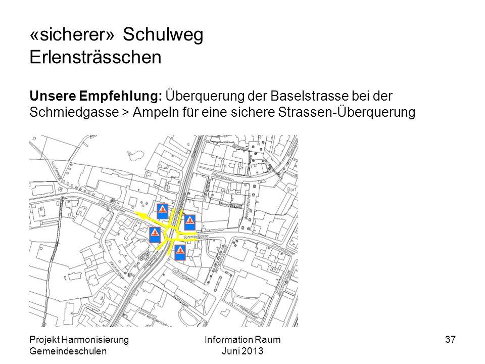«sicherer» Schulweg Erlensträsschen Unsere Empfehlung: Überquerung der Baselstrasse bei der Schmiedgasse > Ampeln für eine sichere Strassen-Überquerun