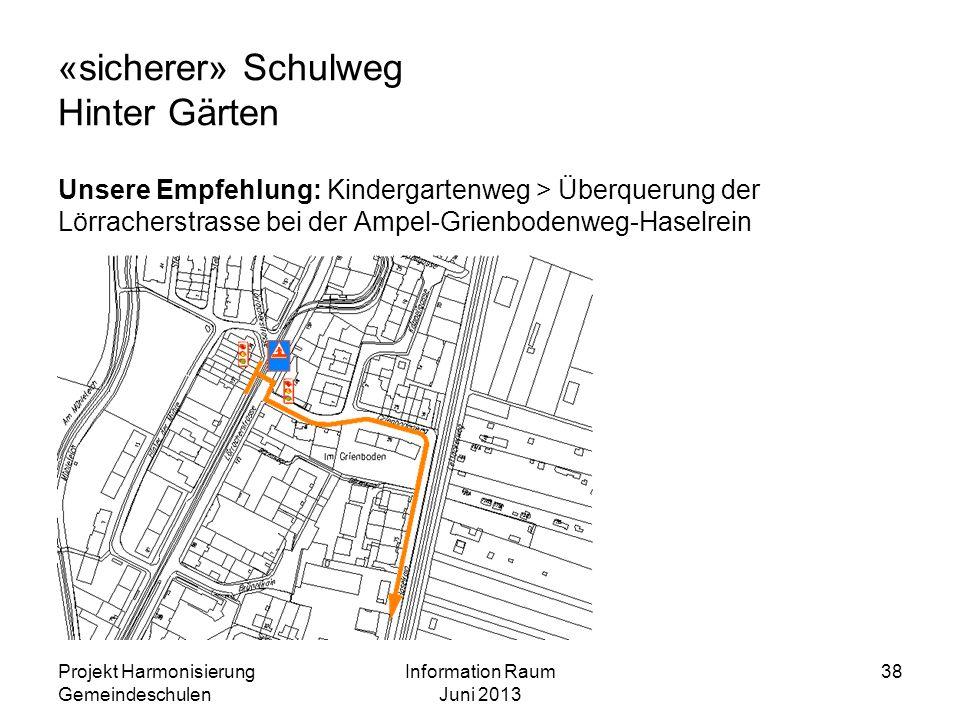 «sicherer» Schulweg Hinter Gärten Unsere Empfehlung: Kindergartenweg > Überquerung der Lörracherstrasse bei der Ampel-Grienbodenweg-Haselrein Projekt