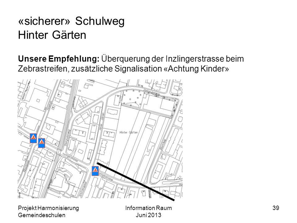 «sicherer» Schulweg Hinter Gärten Unsere Empfehlung: Überquerung der Inzlingerstrasse beim Zebrastreifen, zusätzliche Signalisation «Achtung Kinder» P