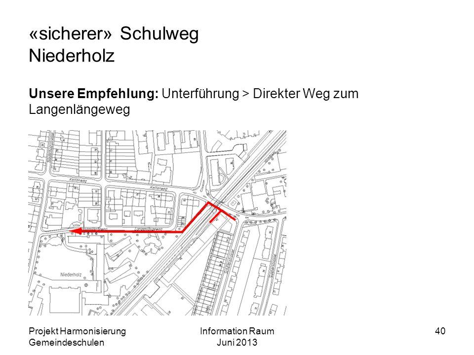 «sicherer» Schulweg Niederholz Unsere Empfehlung: Unterführung > Direkter Weg zum Langenlängeweg Projekt Harmonisierung Gemeindeschulen Information Ra