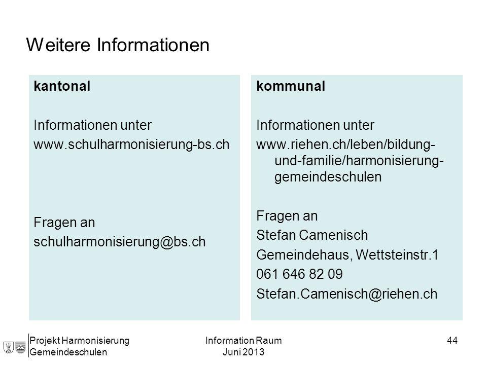 Projekt Harmonisierung Gemeindeschulen Information Raum Juni 2013 44 kantonal Informationen unter www.schulharmonisierung-bs.ch Fragen an schulharmoni
