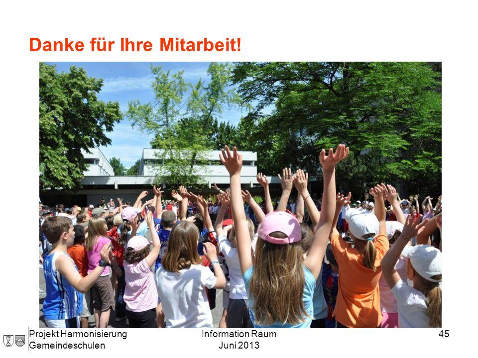 Projekt Harmonisierung Gemeindeschulen Information Raum Juni 2013 45 Danke für Ihre Mitarbeit!