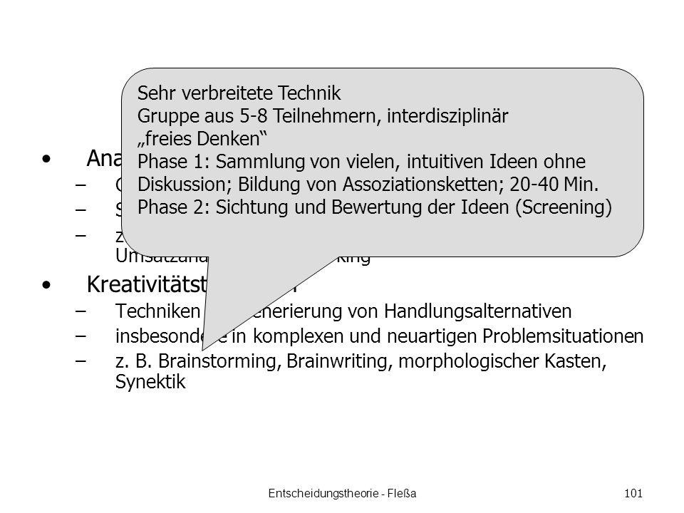 Analysetechniken –Gewinnung von Anregungsinformationen –System- und Problemanalyse –z.