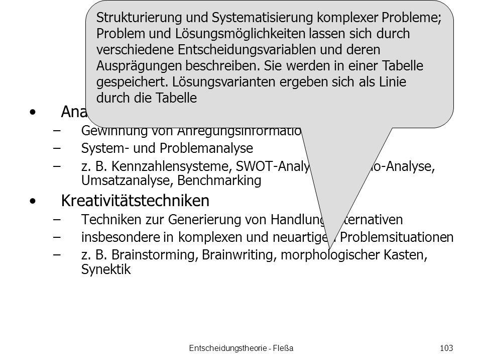 Überblick Analysetechniken –Gewinnung von Anregungsinformationen –System- und Problemanalyse –z.