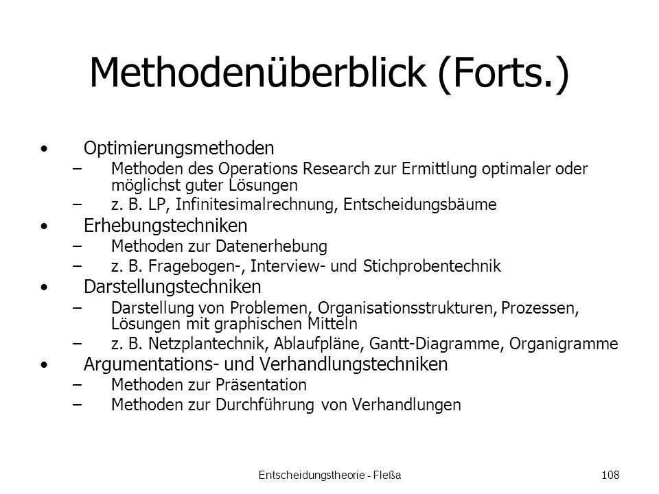 Methodenüberblick (Forts.) Optimierungsmethoden –Methoden des Operations Research zur Ermittlung optimaler oder möglichst guter Lösungen –z.