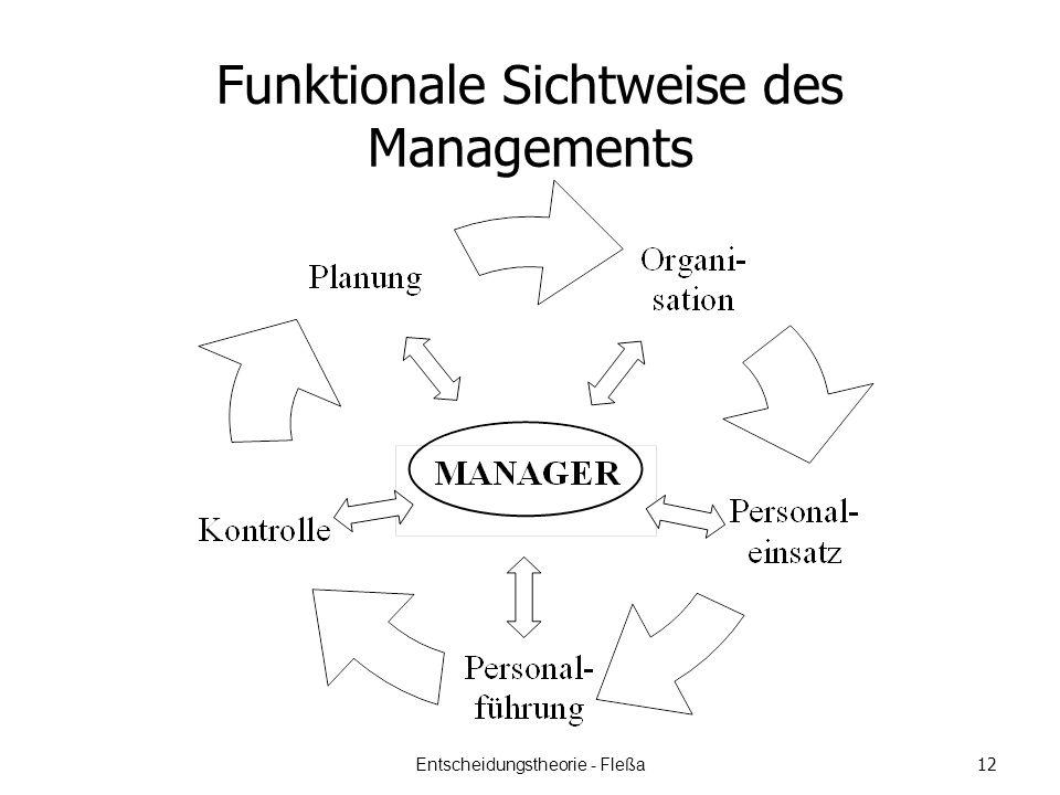 Funktionale Sichtweise des Managements Entscheidungstheorie - Fleßa 12