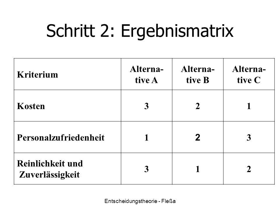 Schritt 2: Ergebnismatrix Kriterium Alterna- tive A Alterna- tive B Alterna- tive C Kosten321 Personalzufriedenheit1 2 3 Reinlichkeit und Zuverlässigkeit 312 Entscheidungstheorie - Fleßa