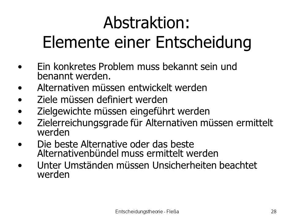 Abstraktion: Elemente einer Entscheidung Ein konkretes Problem muss bekannt sein und benannt werden.