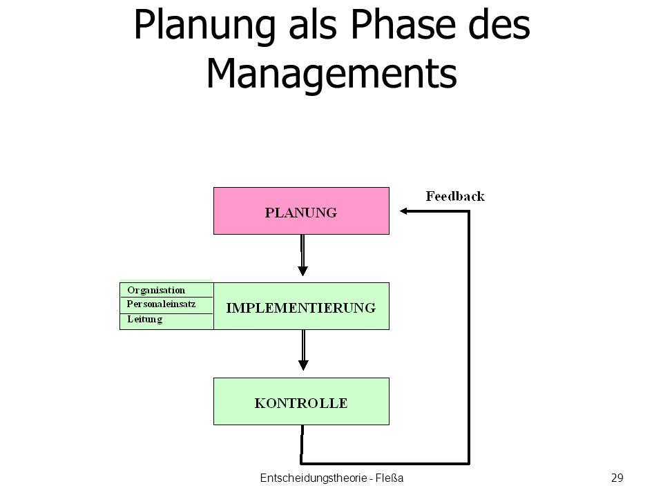 Planung als Phase des Managements Entscheidungstheorie - Fleßa 29
