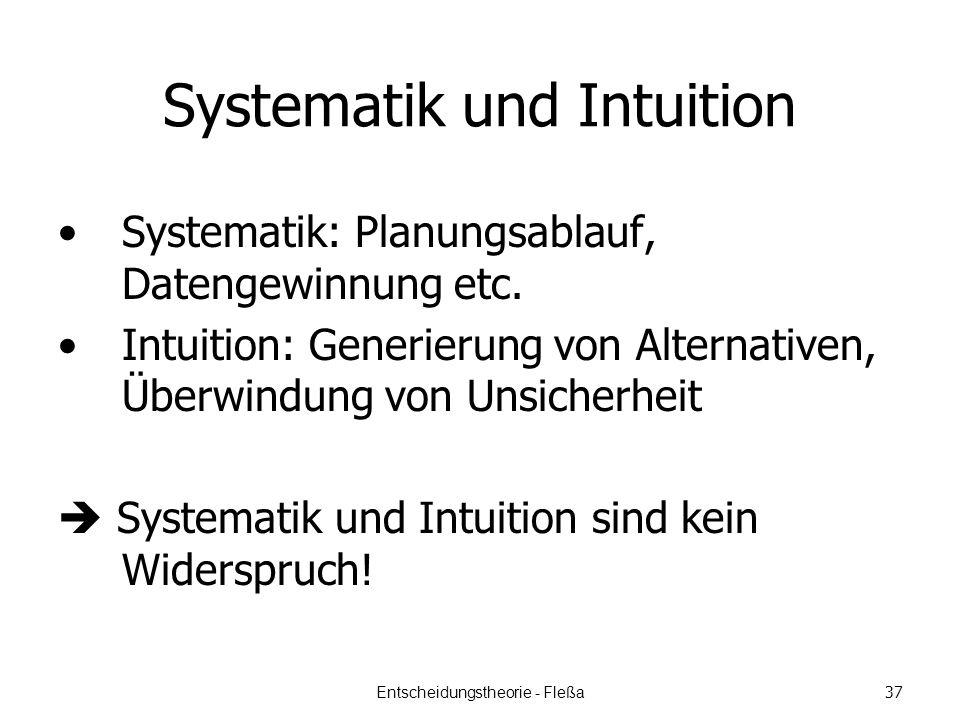 Systematik und Intuition Systematik: Planungsablauf, Datengewinnung etc.