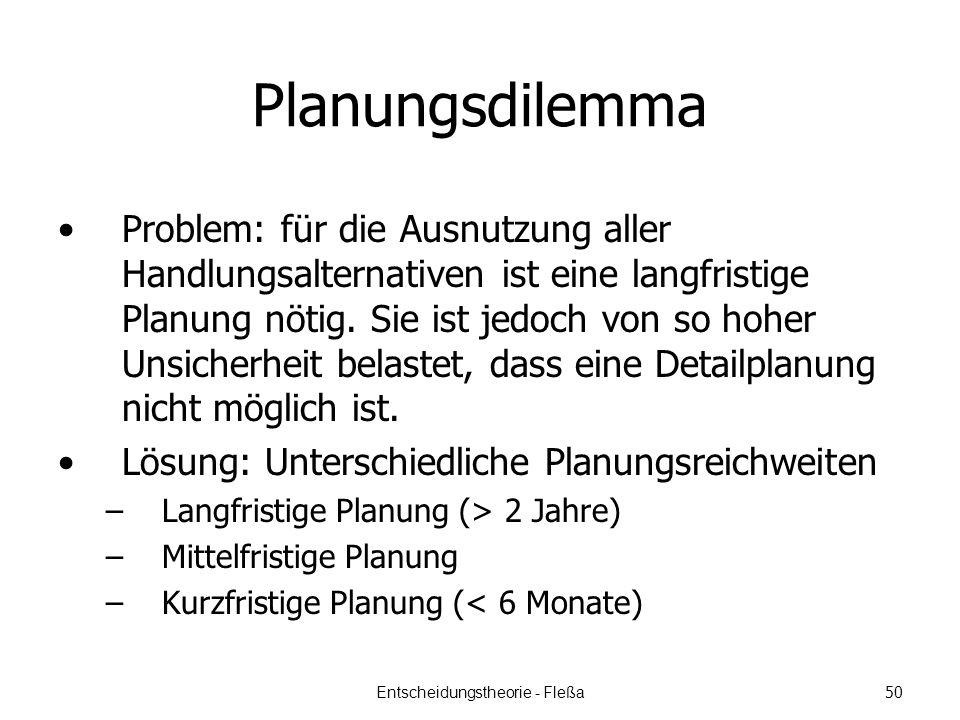 Planungsdilemma Problem: für die Ausnutzung aller Handlungsalternativen ist eine langfristige Planung nötig.