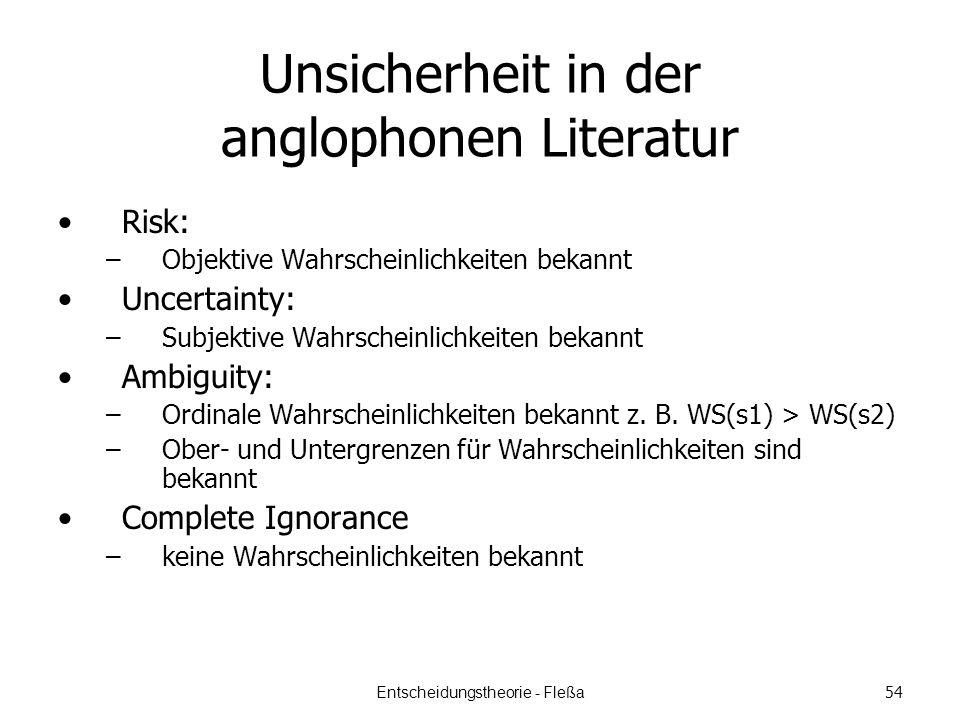 Unsicherheit in der anglophonen Literatur Risk: –Objektive Wahrscheinlichkeiten bekannt Uncertainty: –Subjektive Wahrscheinlichkeiten bekannt Ambiguity: –Ordinale Wahrscheinlichkeiten bekannt z.