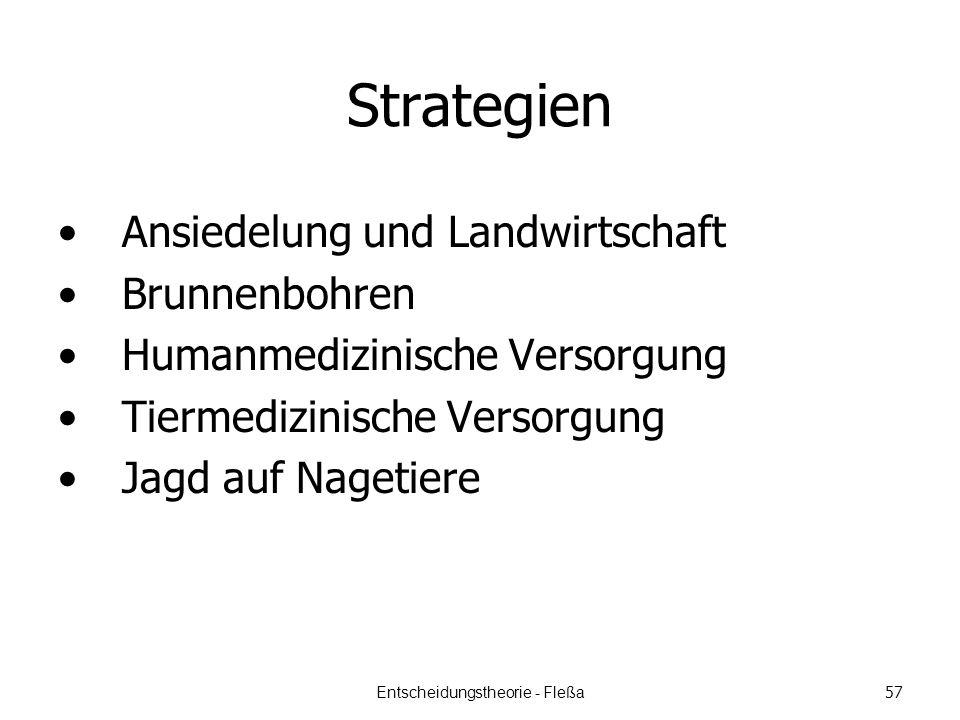 Strategien Ansiedelung und Landwirtschaft Brunnenbohren Humanmedizinische Versorgung Tiermedizinische Versorgung Jagd auf Nagetiere Entscheidungstheorie - Fleßa 57