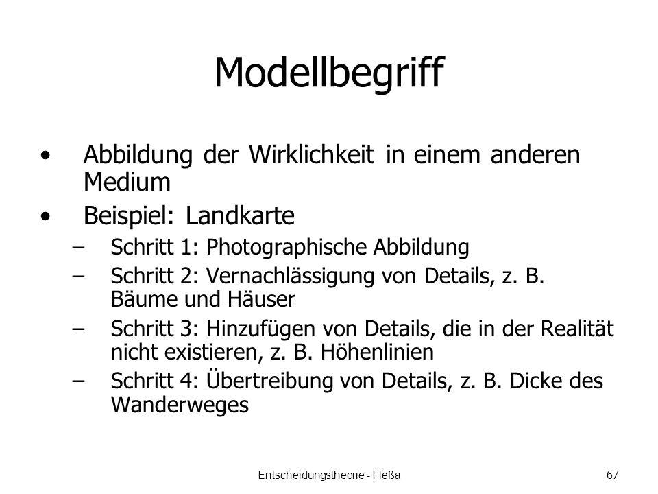Modellbegriff Abbildung der Wirklichkeit in einem anderen Medium Beispiel: Landkarte –Schritt 1: Photographische Abbildung –Schritt 2: Vernachlässigung von Details, z.