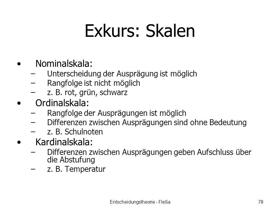 Exkurs: Skalen Nominalskala: –Unterscheidung der Ausprägung ist möglich –Rangfolge ist nicht möglich –z.