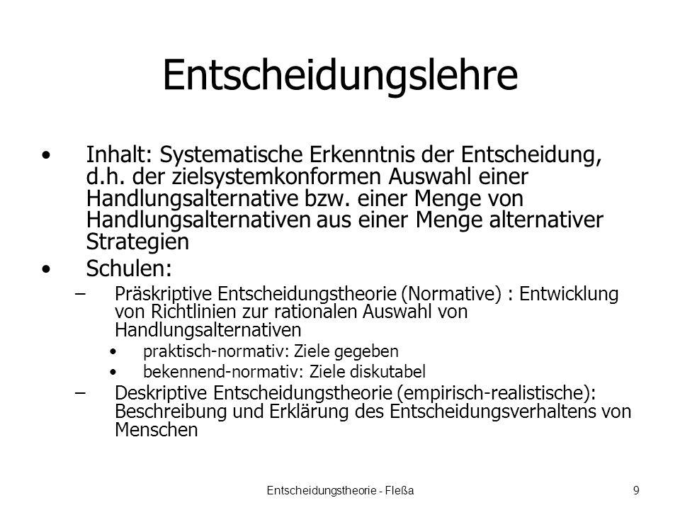 Entscheidungslehre Inhalt: Systematische Erkenntnis der Entscheidung, d.h.
