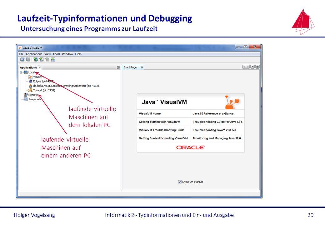 Holger Vogelsang Laufzeit-Typinformationen und Debugging Untersuchung eines Programms zur Laufzeit Informatik 2 - Typinformationen und Ein- und Ausgab