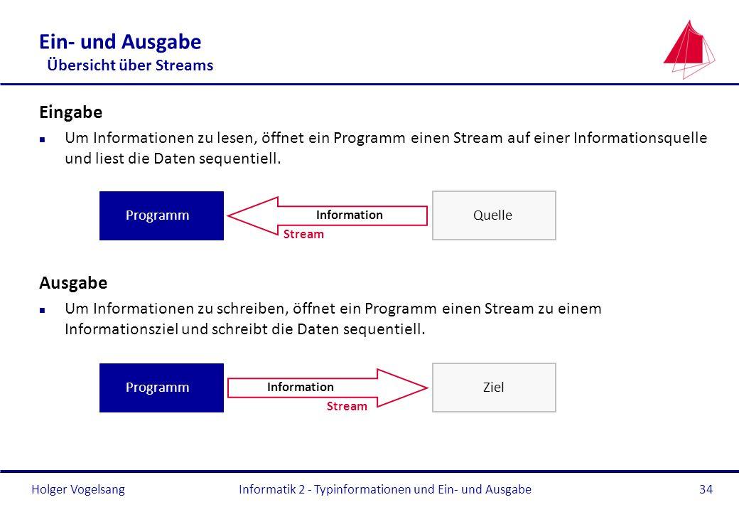 Holger Vogelsang Ein- und Ausgabe Übersicht über Streams Eingabe n Um Informationen zu lesen, öffnet ein Programm einen Stream auf einer Informationsq