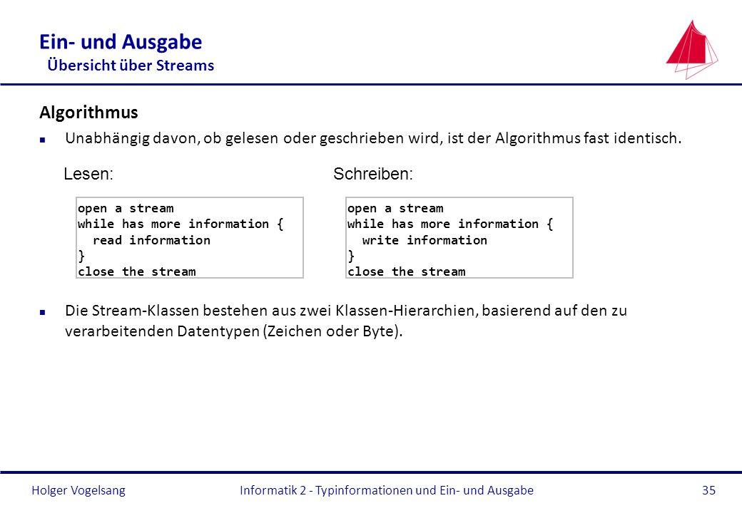 Holger Vogelsang Ein- und Ausgabe Übersicht über Streams Algorithmus n Unabhängig davon, ob gelesen oder geschrieben wird, ist der Algorithmus fast id