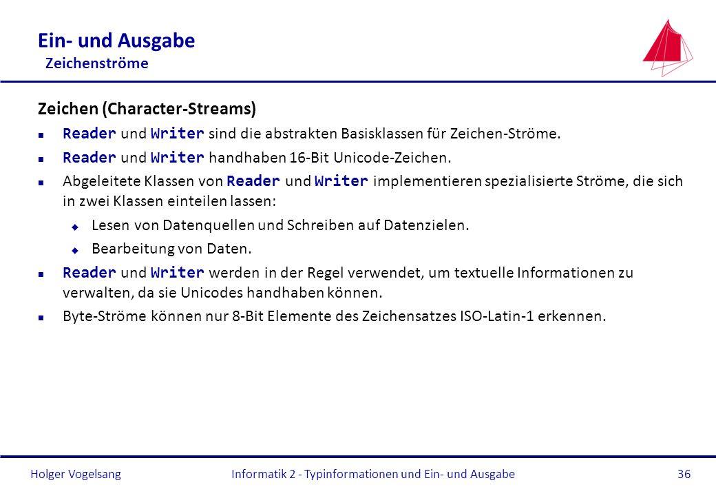 Holger Vogelsang Ein- und Ausgabe Zeichenströme Zeichen (Character-Streams) Reader und Writer sind die abstrakten Basisklassen für Zeichen-Ströme. Rea