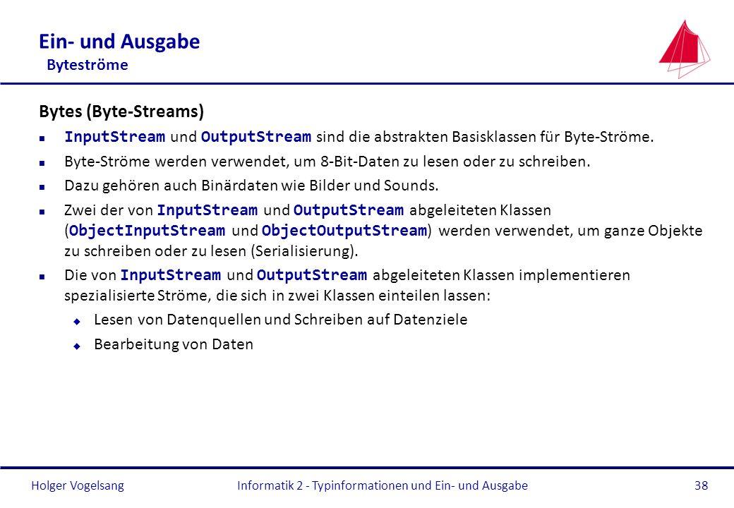 Holger Vogelsang Ein- und Ausgabe Byteströme Bytes (Byte-Streams) InputStream und OutputStream sind die abstrakten Basisklassen für Byte-Ströme. n Byt