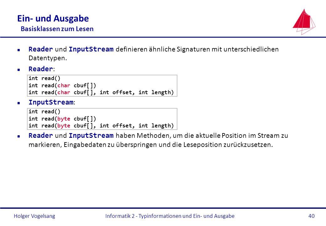 Holger Vogelsang Ein- und Ausgabe Basisklassen zum Lesen Reader und InputStream definieren ähnliche Signaturen mit unterschiedlichen Datentypen. Reade