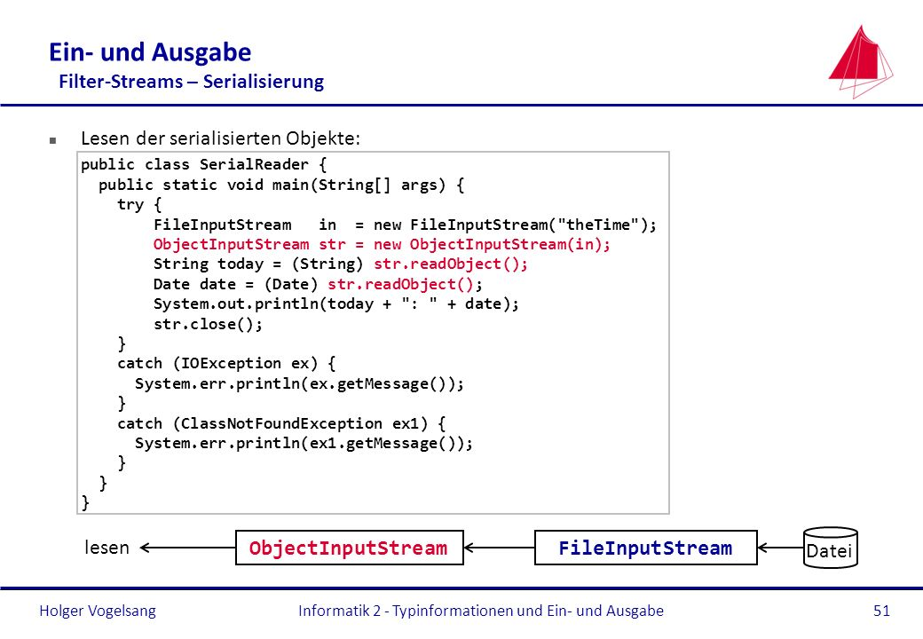 Holger Vogelsang Ein- und Ausgabe Filter-Streams – Serialisierung n Lesen der serialisierten Objekte: public class SerialReader { public static void m