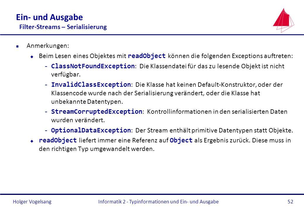 Holger Vogelsang Ein- und Ausgabe Filter-Streams – Serialisierung n Anmerkungen: Beim Lesen eines Objektes mit readObject können die folgenden Excepti