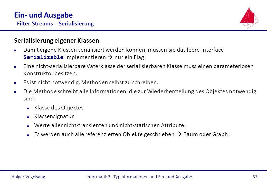 Holger Vogelsang Ein- und Ausgabe Filter-Streams – Serialisierung Serialisierung eigener Klassen Damit eigene Klassen serialisiert werden können, müss