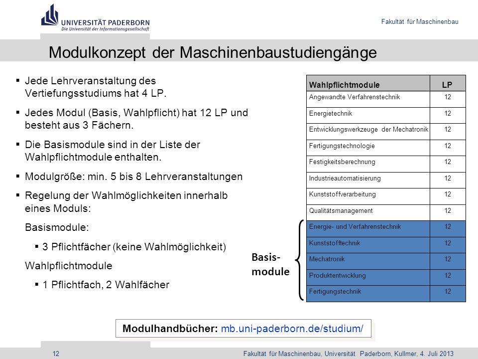 Fakultät für Maschinenbau Fakultät für Maschinenbau, Universität Paderborn, Kullmer, 4. Juli 201312 Modulkonzept der Maschinenbaustudiengänge Modulhan