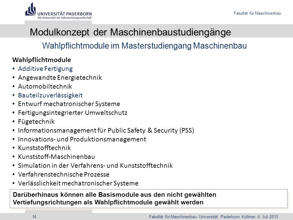 Fakultät für Maschinenbau Fakultät für Maschinenbau, Universität Paderborn, Kullmer, 4. Juli 201314 Modulkonzept der Maschinenbaustudiengänge Wahlpfli