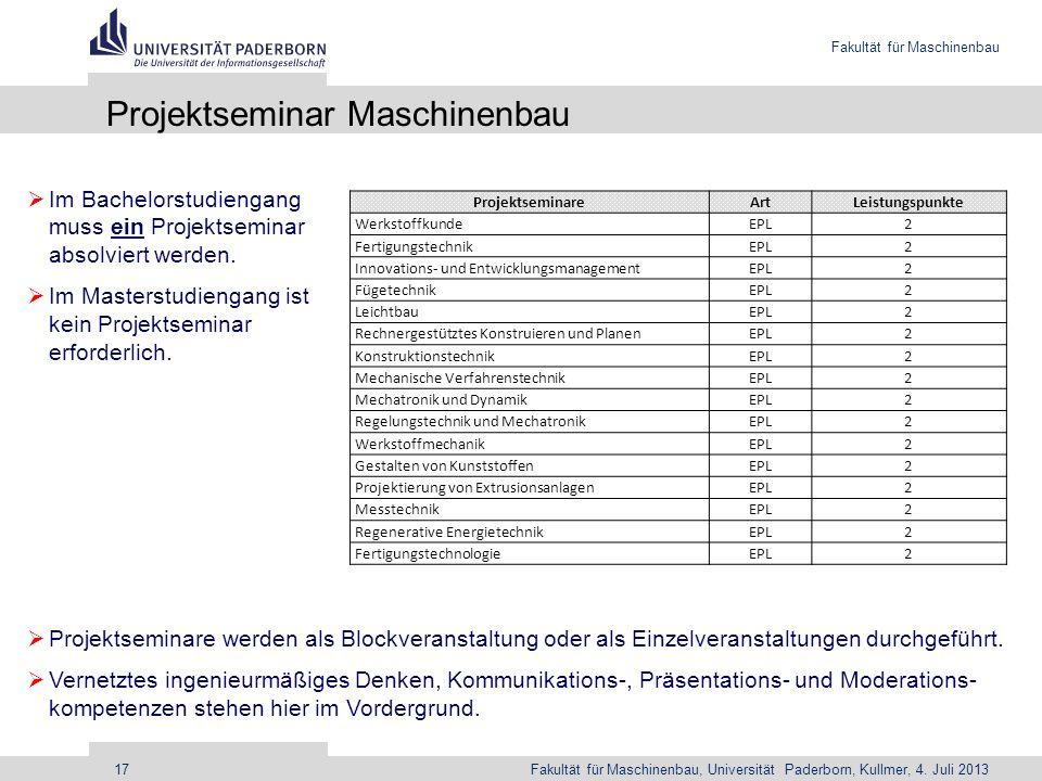 Fakultät für Maschinenbau Fakultät für Maschinenbau, Universität Paderborn, Kullmer, 4. Juli 201317 Projektseminar Maschinenbau Projektseminare werden