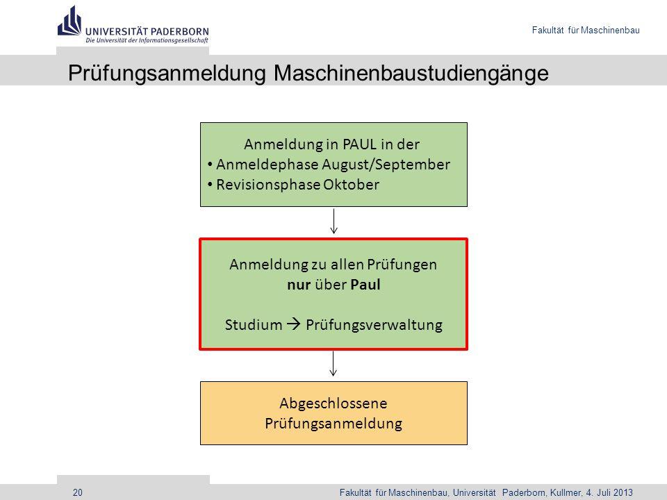 Fakultät für Maschinenbau Fakultät für Maschinenbau, Universität Paderborn, Kullmer, 4. Juli 201320 Prüfungsanmeldung Maschinenbaustudiengänge Anmeldu