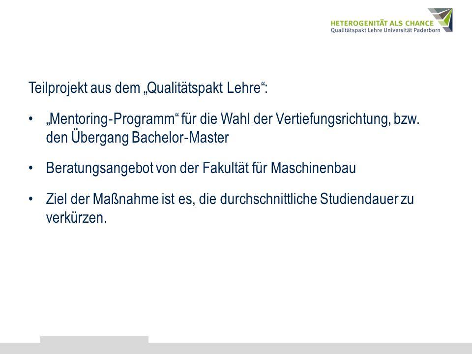 Teilprojekt aus dem Qualitätspakt Lehre: Mentoring Programm für die Wahl der Vertiefungsrichtung, bzw. den Übergang Bachelor Master Beratungsangebot v
