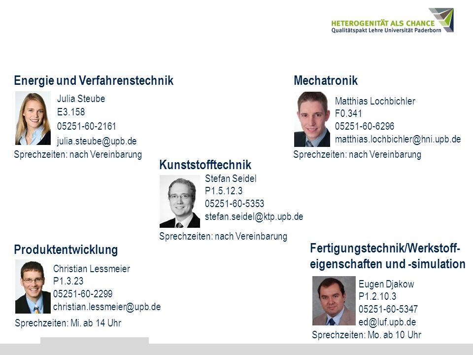 Kontakt Julia Steube E3.158 05251-60-2161 julia.steube@upb.de Energie und Verfahrenstechnik Sprechzeiten: nach Vereinbarung Matthias Lochbichler F0.34