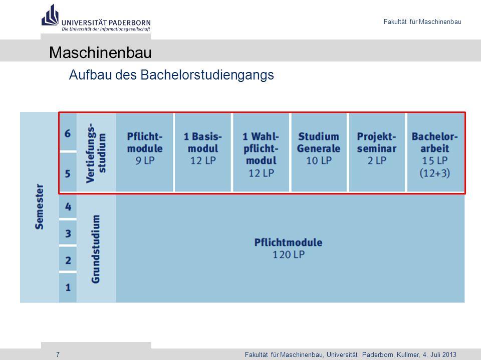 Fakultät für Maschinenbau Fakultät für Maschinenbau, Universität Paderborn, Kullmer, 4. Juli 20137 Maschinenbau Aufbau des Bachelorstudiengangs