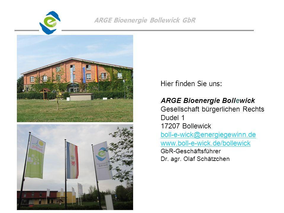 ARGE Bioenergie Bollewick GbR Hier finden Sie uns: ARGE Bioenergie Bollewick Gesellschaft bürgerlichen Rechts Dudel 1 17207 Bollewick boll-e-wick@ener