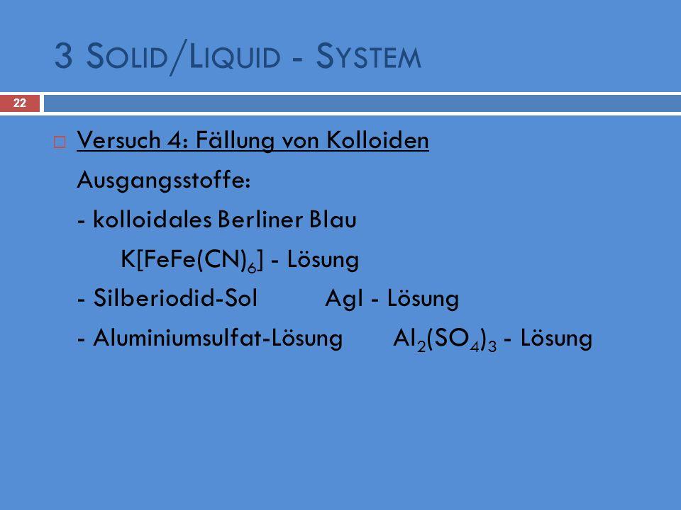 3 S OLID /L IQUID - S YSTEM 22 Versuch 4: Fällung von Kolloiden Ausgangsstoffe: - kolloidales Berliner Blau K[FeFe(CN) 6 ] - Lösung - Silberiodid-Sol