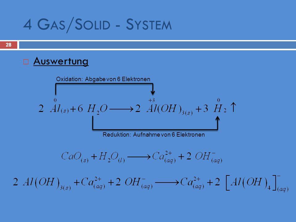 Reduktion: Aufnahme von 6 Elektronen Auswertung Oxidation: Abgabe von 6 Elektronen 4 G AS /S OLID - S YSTEM 28