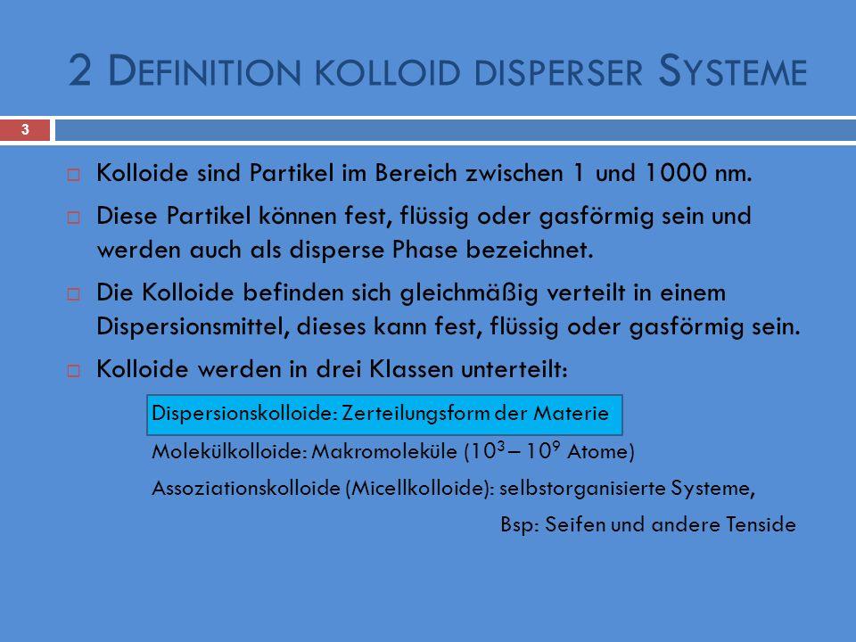 2 D EFINITION KOLLOID DISPERSER S YSTEME 3 Kolloide sind Partikel im Bereich zwischen 1 und 1000 nm. Diese Partikel können fest, flüssig oder gasförmi