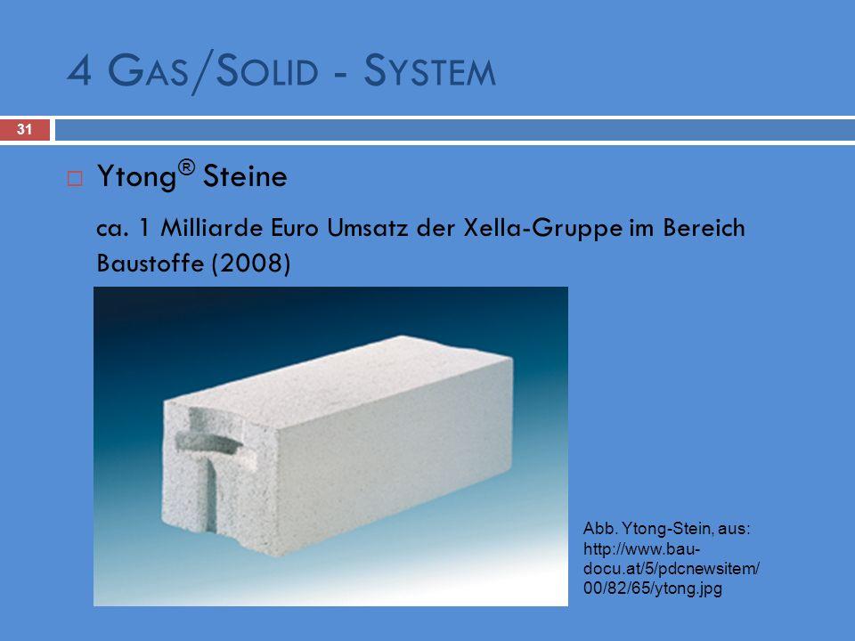 4 G AS /S OLID - S YSTEM 31 Ytong ® Steine ca. 1 Milliarde Euro Umsatz der Xella-Gruppe im Bereich Baustoffe (2008) Abb. Ytong-Stein, aus: http://www.