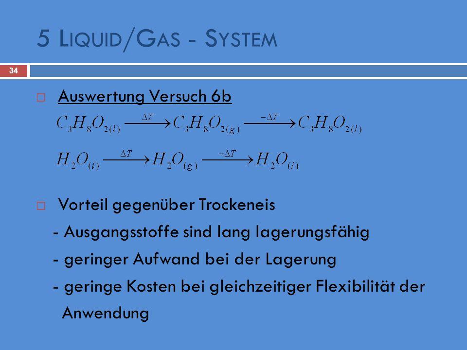 5 L IQUID /G AS - S YSTEM 34 Auswertung Versuch 6b Vorteil gegenüber Trockeneis - Ausgangsstoffe sind lang lagerungsfähig - geringer Aufwand bei der L