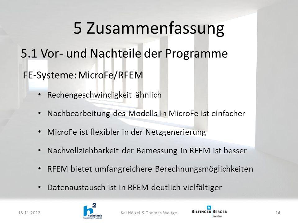FE-Systeme: MicroFe/RFEM Rechengeschwindigkeit ähnlich Nachbearbeitung des Modells in MicroFe ist einfacher MicroFe ist flexibler in der Netzgenerierung Nachvollziehbarkeit der Bemessung in RFEM ist besser RFEM bietet umfangreichere Berechnungsmöglichkeiten Datenaustausch ist in RFEM deutlich vielfältiger 5 Zusammenfassung 15.11.2012Kai Hölzel & Thomas Weltge14 5.1 Vor- und Nachteile der Programme