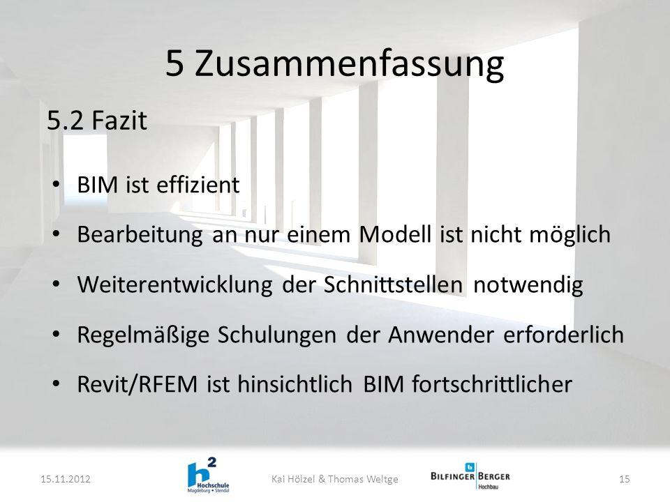 BIM ist effizient Bearbeitung an nur einem Modell ist nicht möglich Weiterentwicklung der Schnittstellen notwendig Regelmäßige Schulungen der Anwender erforderlich Revit/RFEM ist hinsichtlich BIM fortschrittlicher 5 Zusammenfassung 15.11.2012Kai Hölzel & Thomas Weltge15 5.2 Fazit