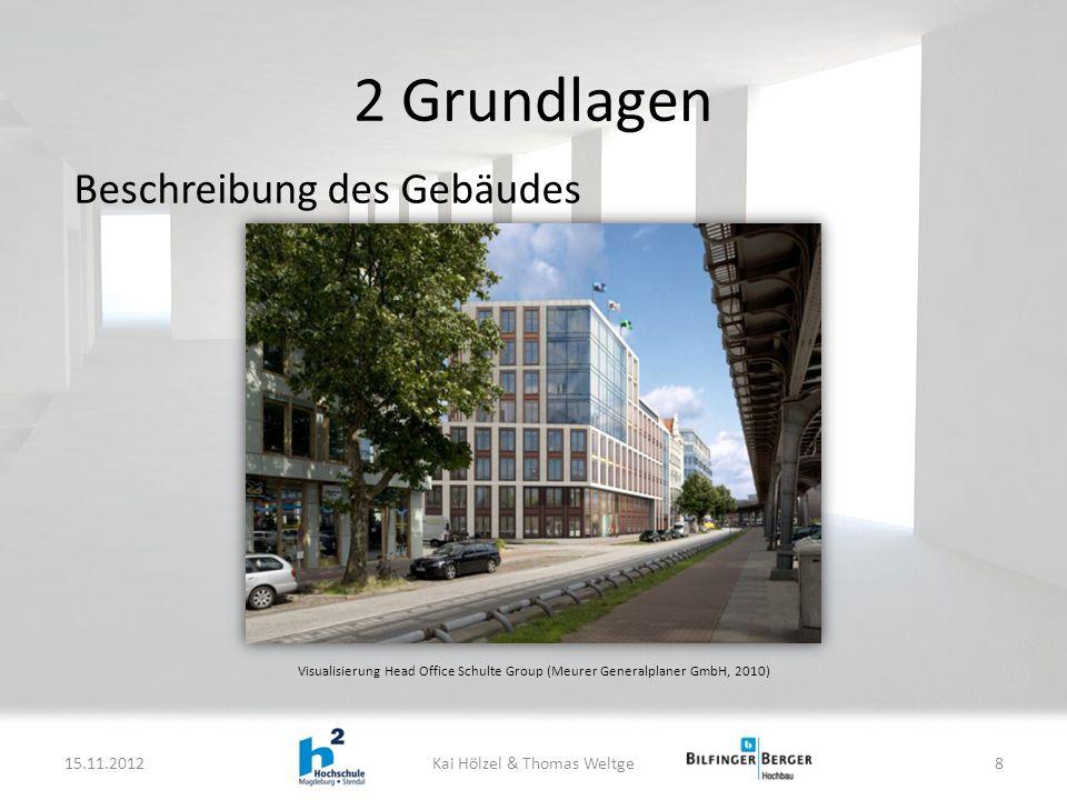 2 Grundlagen 15.11.2012Kai Hölzel & Thomas Weltge8 Beschreibung des Gebäudes Visualisierung Head Office Schulte Group (Meurer Generalplaner GmbH, 2010)