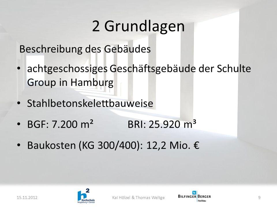 2 Grundlagen achtgeschossiges Geschäftsgebäude der Schulte Group in Hamburg Stahlbetonskelettbauweise BGF: 7.200 m²BRI: 25.920 m³ Baukosten (KG 300/400): 12,2 Mio.