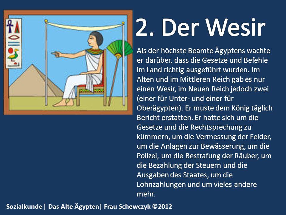 Sozialkunde | Das Alte Ägypten| Frau Schewczyk ©2012 Lesen, Schreiben und Rechnen musste jeder Beamte können.